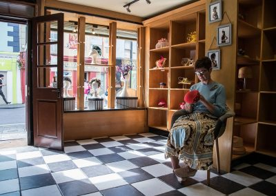 Aoife Hannon Milliner in her shop